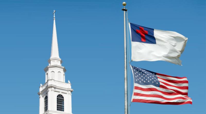 Christian Flag above American flag